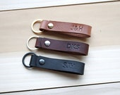 Personalized Leather Keychain, Fob, Gift, Anniversary, Multiple Colors