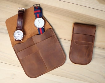 Personalized leather watch case, roll, travel pouch, holder, sleeve, weddings, groomsmen gifts