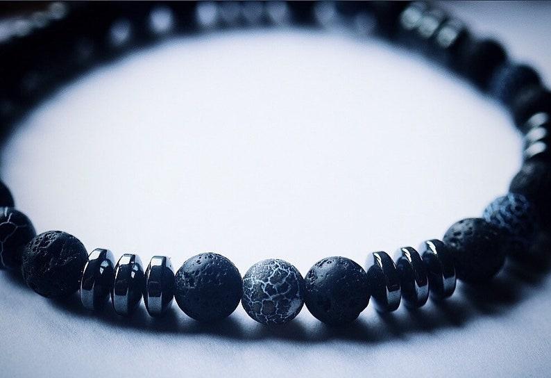 Unique hematite bracelet with metal beads
