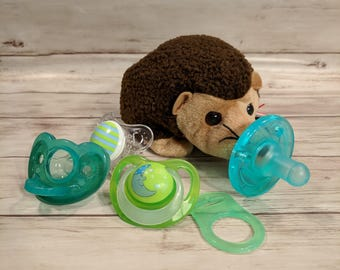 Hedgehog-  Pacifier Holder- Baby Boy- Baby Girl- Newborn- Baby Shower Gift- Gender Neutral- Gender Reveal Gift-Ty Beanie Baby MTO