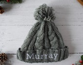 Personalized Gift Embroidered Children 39 s Beanie Hat for Kids in Grey
