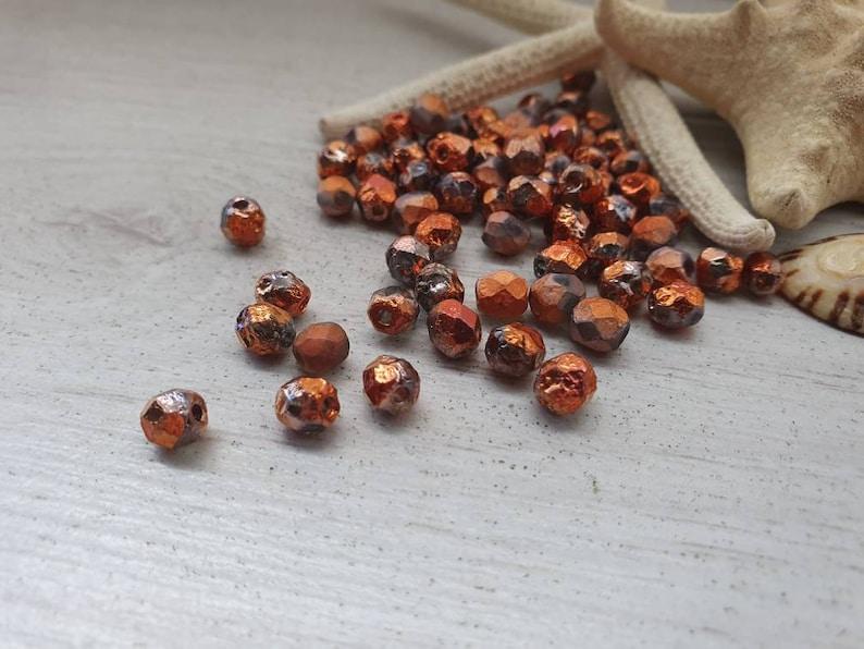 25 Pcs Czech Glass Fire Polish Beads Metallic Beads 6mm Full Sunset Crystal Etched