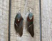 Boho earrings Feather earrings Statement earrings Drop earrings Natural jewelry Summer earrings