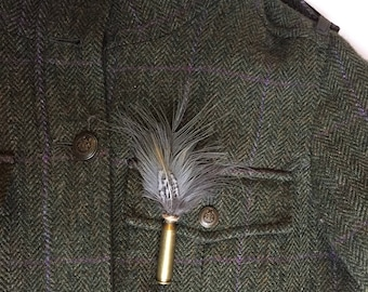 Cartridge and Feather Brooch/Pin