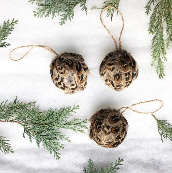size 40 5355d 12562 Baubles Feather baubles decorations Grouse feathers country house style  decoration farmhouse decor