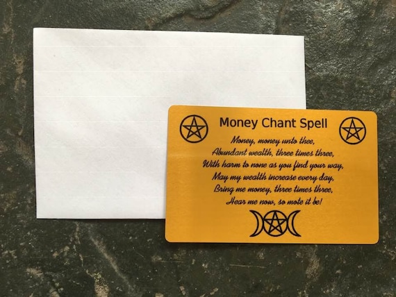 Money Chant Spell Gold Metal Wallet Purse Insert Card Keepsake To Attract  Wealth & Prosperity Wiccan Witch Witchcraft Magic Altar Spell