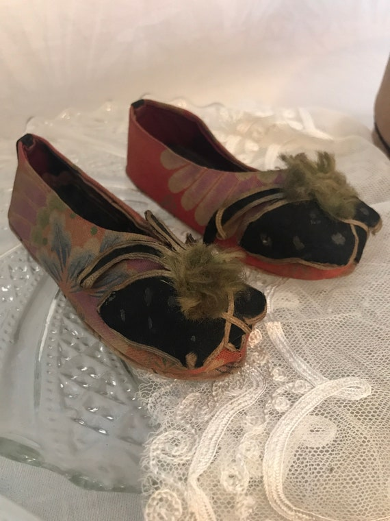 Antique Chinese Silk Lotus Slippers - butterflies