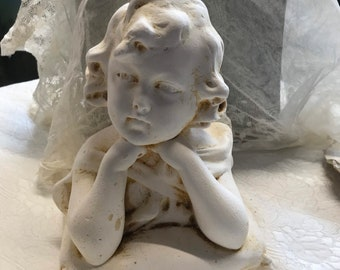 Antique French Chalk Bust of a Young Girl - signed