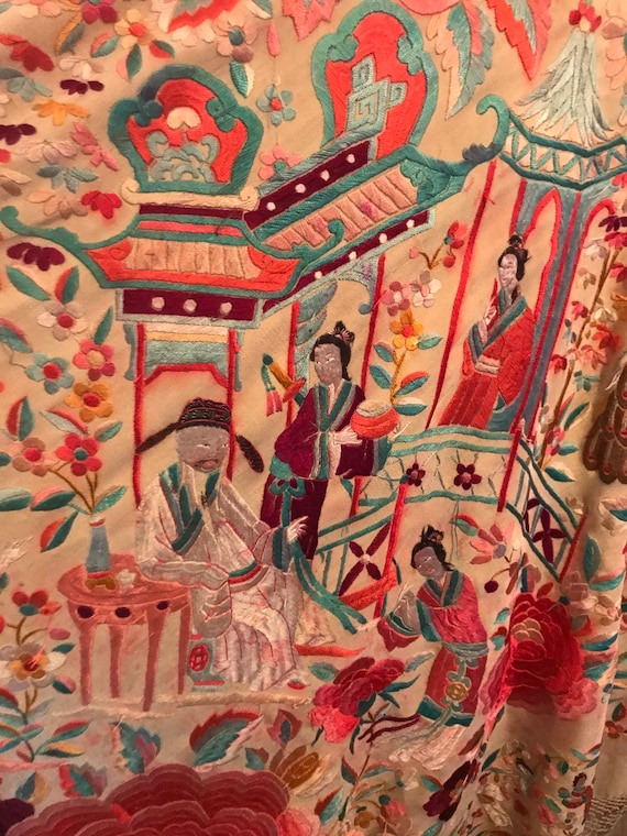 Magnificent and Rare Embroidered Chinese Silk Pian