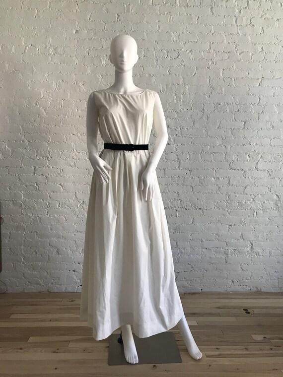 Oversized White Dress with Velvet Belt