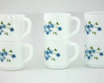 6 small vintage Veronica Arcopal espresso cups