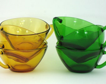 6 vintage glass yellow and green Vereco cups