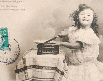 Math fun postcard 1900 s lesson - pretty little girl curls - rule pastry division