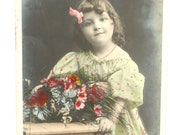 Portrait of little girl-bouquet of flowers dress with polka dots-French antique postcard black and white early 20th century - colorized