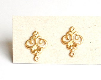 "Pair Arabesque earrings - gold plated 18 k - plating super strong-""forever gold"" - 13x8mm"
