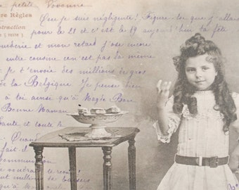 Rule mathematics fun postcard 1900 s lesson - pretty little girl curls - subtraction-pastry
