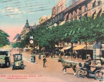 Paris-boulevard Italians map, old postcard France 1900 s collotype colors