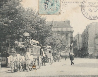 Old Paris Omnibus Batignolles card postcard France 1907-black and white