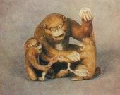 Netsuke monkeys monkey mom and her little ones Chinese calendar Chinese zodiac vintage postcard Japan Russian postcard