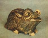 Netsuke boar vintage postcard Japan Russian postcard
