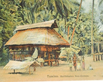 Rare 1910s Papua New Guinea-TUMLEO- ethnographic portrait-tribe-ancient postcard-Oceania