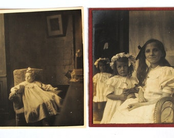 2 beautiful old portraits of children-children-1900-old family photos-dresses of lace-little girls-Victorian dresses