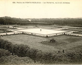 1900/1930 - Map postcard vintage France - French Fontainebleau Palace Gardens - black and white photography
