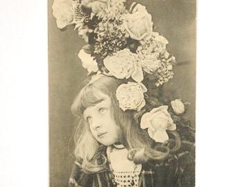 Rare old postcard 1900 s - pretty little girl curls - wreath - romantic Victorian black and white photography