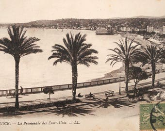 Vintage 1920's - Old postcard - France - Nice - the walk of the United States - azure-Palm trees-Beach-french riviera coast - print