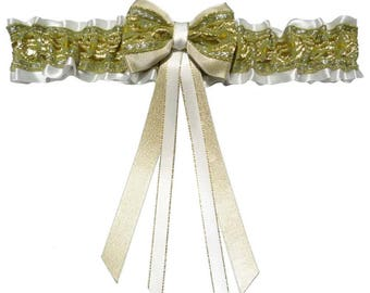 Green White satin wedding garter gold embroidery - several sizes