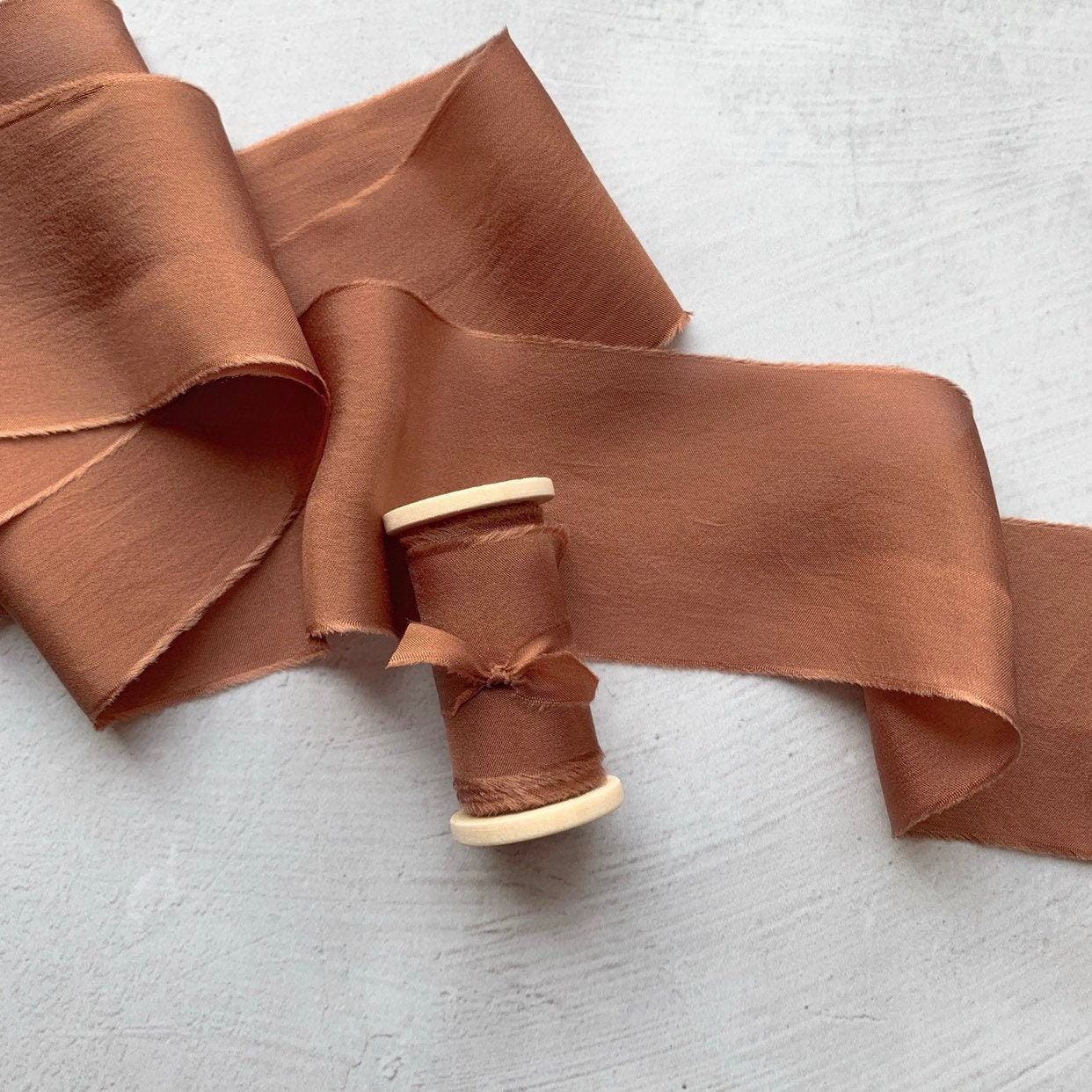 LIGHT ORANGE hand dyed silk ribbon  perfect for floral bouquets rustic wedding decor invitations