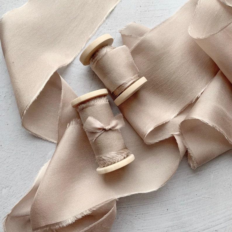 wedding stationary Hand dyed silk ribbon wedding bouquet Mauve neutral silk ribbon ribbon on spool  rustic wedding decor