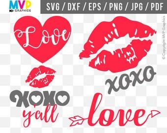Love SVG, xoxo y'all SVG, Valentine SVG, Valentine's Day Designs, Heart Cut Files, Kiss Vector Designs, Cut Files for Cricut, mvp-22