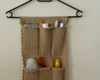 Toiletry bag hanging crocheted