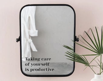 Taking Care Of Yourself Is Productive Minimalist Hand Lettering Vinyl Mirror Sticker