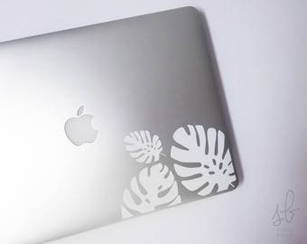 Hand Drawn Minimalist Jungle Leaf Permanent Vinyl & Mirror Tech Sticker