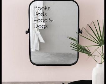 Books Pods Food & Dogs Vinyl Mirror Car Tech Sticker