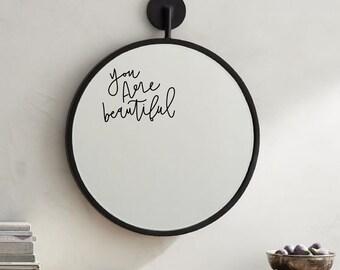 You Are Beautiful Body Positive Minimalist Hand Lettering Vinyl Mirror Sticker