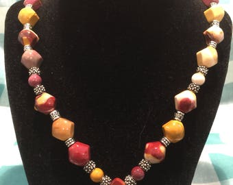 Fall colors natural stone necklace
