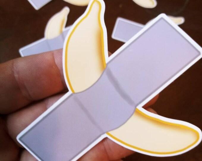 Banana Taped to Wall - Duct Tape Banana Sticker - Art Basel Banana