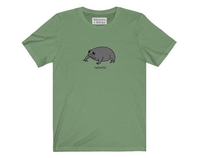 Fantastic. - Black Rain Frog T-shirt - Sad Grumpy Frog Shirt - Unisex Jersey Short Sleeve Tee