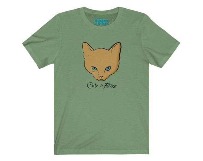 Cute and Fierce Kitten T-shirt - Adorable Tough Cat - Unisex Jersey Short Sleeve Tee
