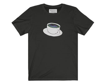 Cup of Coffee with Trippy Swirls Tshirt - Unisex Jersey Short Sleeve Tee