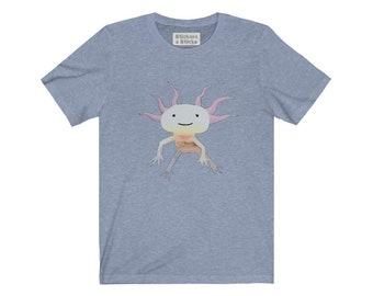 Axolotl (cute smile) Mexican Walking Fish Tshirt - Endangered Animal Unisex Jersey Short Sleeve Tee