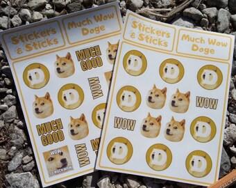 Doge Sticker Sheet - Much Wow Dogecoin!