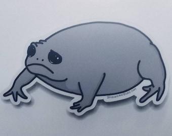Black Rain Frog Sticker - Cute Sad Grumpy Frog Decal