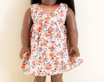 Pink Floral Dress for 18 inch dolls; fits American Girl