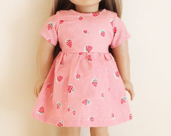 Pink Strawberry Print Dress for 18 inch dolls; fits American Girl