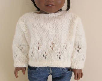 White Sweater for 18 inch dolls; fits American Girl