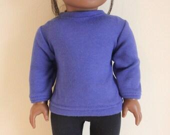 Blue Sweatshirt for 18 inch dolls; fits American Girl